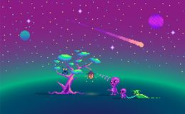 Pixel art story about aliens. Pixel art story about aliens and magic tree Stock Photography
