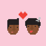 Pixel art style afro american couple in love vector illustration Stock Images