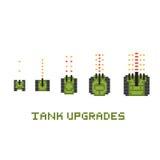 Pixel art style army tank game upgrades vector set Royalty Free Stock Photos
