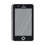 Pixel art style black smartphone gadget isolated vector illustration Royalty Free Stock Photos