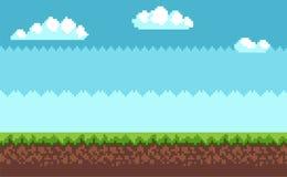 Pixel Art Style Blue Sky, nuages blancs de paysage illustration libre de droits