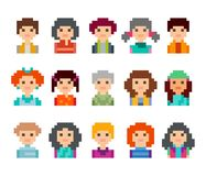 Pixel art style cartoon avatar faces. Cute pixel male and female avatars faces, isolated on white background Stock Photography