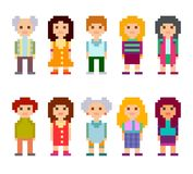 Pixel art style cartoon characters. Men and women standing on white background. Vector illustration Royalty Free Stock Photography