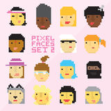 Pixel art style 15 cartoon faces vector set 2 Stock Photos