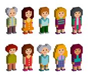 Pixel art style cartoon isometric characters. Men and women are standing on white background. Vector illustration stock illustration