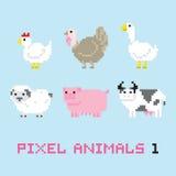 Pixel art style farm animals cartoon vector set 1 Stock Images