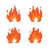 Pixel art style fire animation isolated vector illustration set. Pixel art style fire animation isolated vector illustration Stock Photo