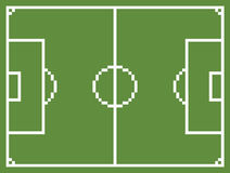 Pixel art style football sport field soccer. Playground green vintage game Royalty Free Stock Photo