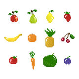 Pixel art style fruits, vegetables and berries Stock Image