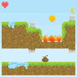 Pixel art style game level vector assets objects Royalty Free Stock Images