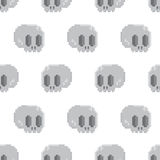 Pixel art style game skull seamless vector background Royalty Free Stock Photos