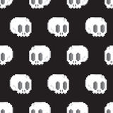 Pixel art style game skull seamless vector background Royalty Free Stock Images