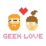 Pixel art style geek couple in love  illustration Royalty Free Stock Images