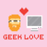 Pixel art style geek in love with computer  illustration Stock Photos