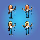 Pixel art style girl rock star singing illustration Royalty Free Stock Photography
