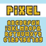 Pixel art style golden alphabet and numbers vector font set Stock Image