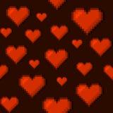 Pixel Art Style Hearts Seamless Background Vecteur Image stock