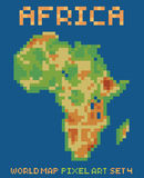 Pixel art style illustration of africa physical Stock Image