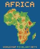 Pixel art style illustration of africa physical. World map isolated on dark blue Stock Image