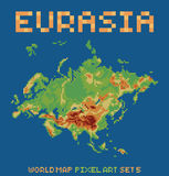 Pixel art style illustration of eurasia physical Royalty Free Stock Images