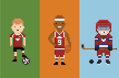 Pixel art style illustration - sportsman football Stock Photos