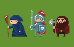 Pixel art style illustration wizard, knight and. Dwarf  on green Stock Photography