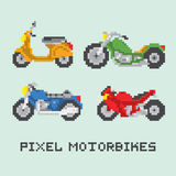 Pixel art style motorbike isolated vector set Stock Images