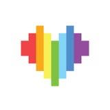 Pixel art style rainbow homosexual heart sign. Pixel art style rainbow homosexual heart royalty free illustration