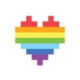 Pixel art style rainbow homosexual heart sign. Pixel art style rainbow homosexual heart stock illustration