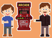 Pixel art style red arcade cabinet with two gamers Royalty Free Stock Photography