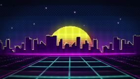 Pixel art style road to the city during sunset. Pixel art style camera movement on the road to the city with skyscrapers at sunset stock illustration