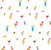 Pixel art style seamless pattern of ice and alcoholic summer drinks and beach cocktails. Fruits and refreshments. Background. vector illustration