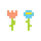 PIxel art style simple flowers isolated vector illustration Stock Image