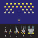 Pixel art style space war and spaceship game upgrades vector set Stock Images