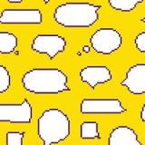 Pixel art style speech bubble seamless vector pattern yellow Stock Image