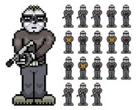Bad Guy - Tommy Tombstone Retro Pixel Art Sprite Sheet Royalty Free Stock Images