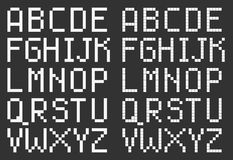 Pixel art style uppercase alphabet, white square Stock Photography