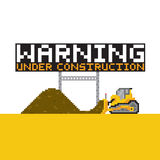Pixel art style warning anded construction  illustration Stock Image
