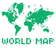 Pixel art style world map green color shape Royalty Free Stock Image