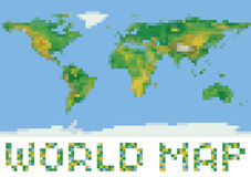 Pixel art style world physical map with green and. Yellow relief isolated on white Royalty Free Stock Photography