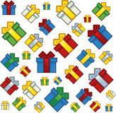 Pixel art style xmas gifts background. Illustration vector illustration