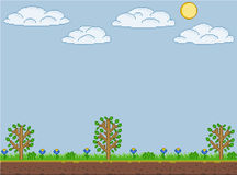 Pixel art summer sunny day Royalty Free Stock Image
