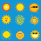 Pixel art sun collection. Vector pixel art sun collection Royalty Free Stock Photography
