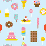 Pixel art sweets seamless vector pattern Stock Image