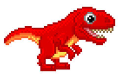 Pixel Art T Rex Cartoon Dinosaur. Pixel art 8 bit cartoon T Rex Tyrannosaurus dinosaur character Royalty Free Stock Photography