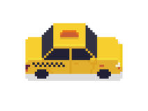 Pixel Art Taxi. Car isolated on white background Stock Images
