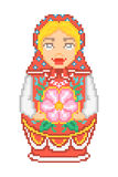 Pixel art traditional national russian matryoshka doll icon stock photos