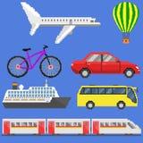 Pixel art transport set Stock Photography