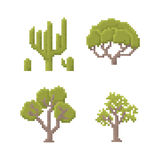 Pixel Art Trees Fotografia Stock Libera da Diritti