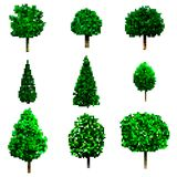 Pixel art trees collection isolated on white. vector trees set Stock Images